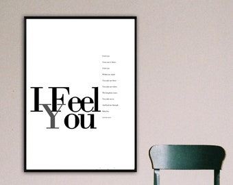I Feel You Poster. Depeche mode print. Typographical printing. Scandinavian style. Gift Idea. Home Decor. Musical quotation. Decor Wall.