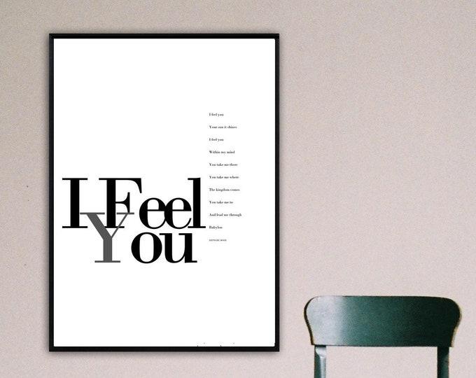 I Feel You Poster Depeche mode. Stampa tipografica con citazione musicale. Stile scandinavo.