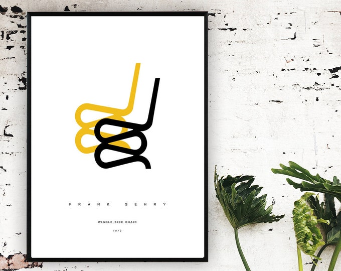 Stampa poster design: Wiggle Side Chair. Frank Owen Gehry. Design moderno.