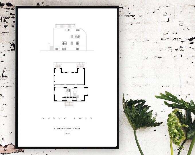 Stampa Adolf Loos: Casa Steiner a Vienna. Poster architettura moderna. Stampa tipografica.