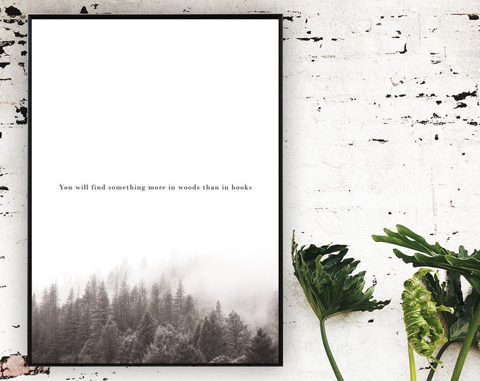 Stampa poster con paesaggio. Arte moderna. Stampa tipografica. Stile scandinavo.