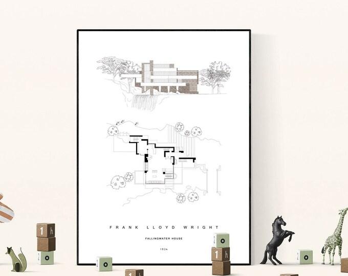 Stampa Frank Lloyd Wright: Fallingwater House. Casa sulla cascata. Stampa tipografica.
