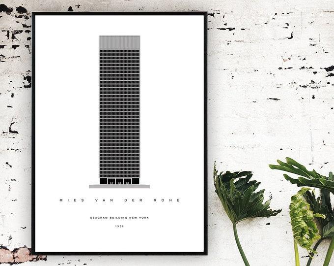 Stampa poster con Seagram Building di Mies Van Der Rohe. Architettura moderna. Stampa tipografica.