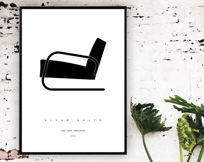 "Stampa Alvar Aalto con poltrona 400 ""Tank"". Stampa tipografica. Design moderno."