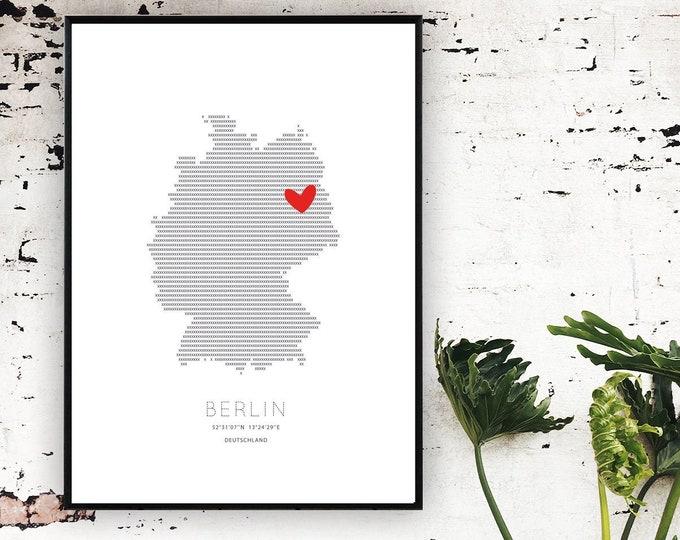 Poster Germania: Love Berlino. Stampa d'arte. Stampa stile scandinavo. Viaggi nel mondo.