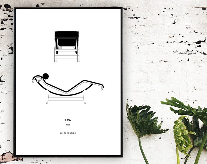 Stampa Le Corbusier: LC4 chaise longue. Stampa tipografica. Stampa decorativa da muro.