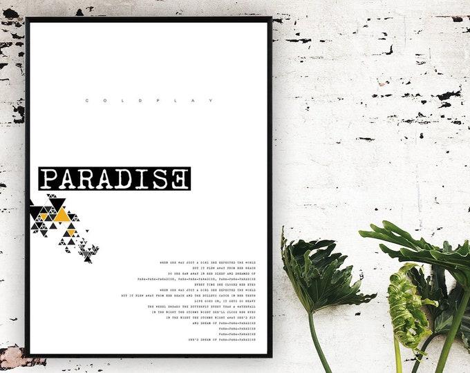 Poster Coldplay: Paradise . Home decor. Stampa tipografica. Stampa con Citazione musicale.