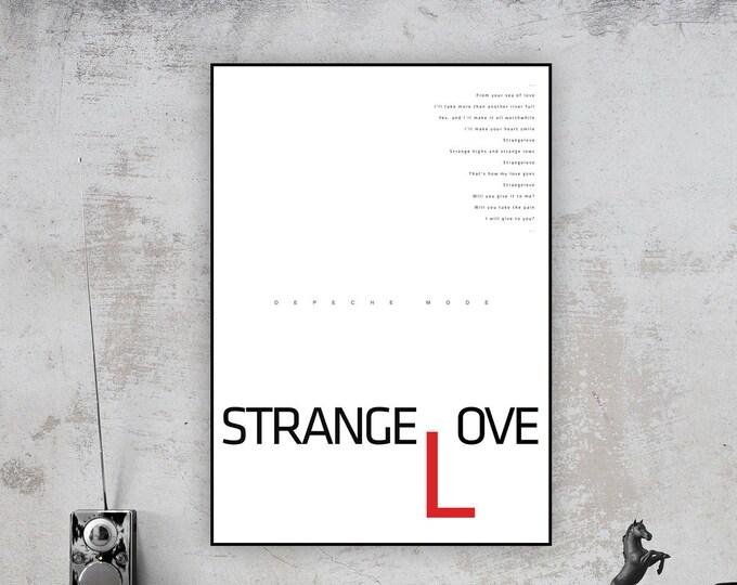 Stampa: Strangelove. Ispirazione Depeche Mode. Stampa tipografica. Stile scandinavo. Idea regalo. Stampa stile nordico.