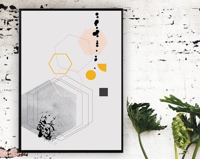Stampa poster con arte astratta. Poster geometrico. Arte moderna. Stampa tipografica.