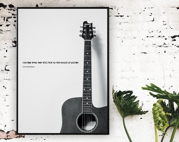 Stampa poster Jim Morrison. Stampa tipografica. Poster musicale con aforisma.