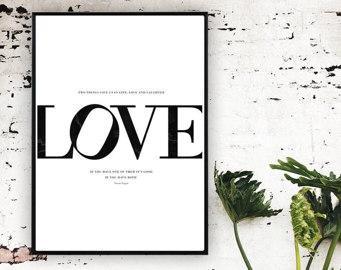 Stampa Poster LOVE. Stampa tipografica. Regalo per lei. Regalo per lui. Stampa regalo di matrimonio.