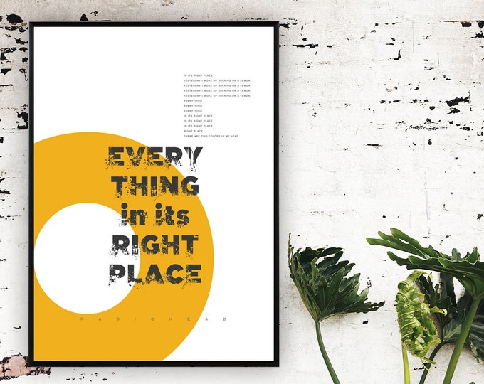 Stampa poster Radiohead: Everything in Its Right Place. Stampa tipografica con citazione musicale.