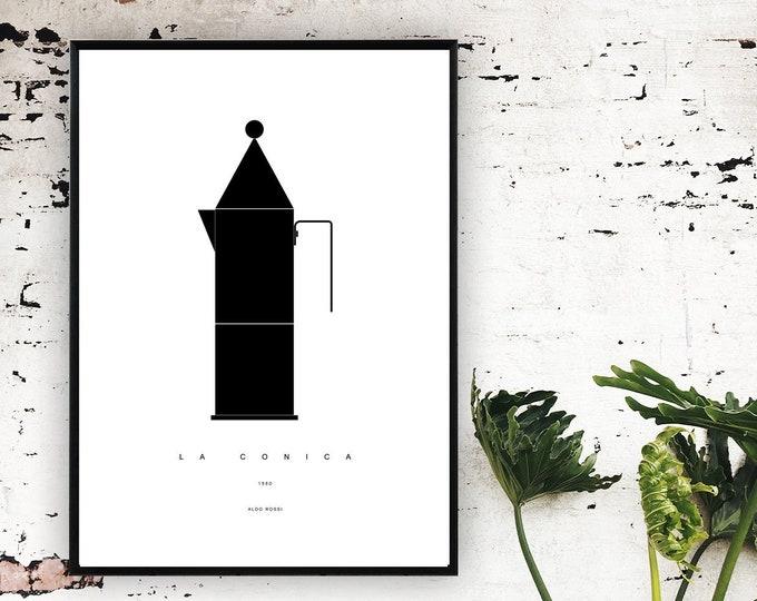 Stampa con La Conica di Aldo Rossi. Stampa digitale. Stile scandinavo. File digitale.