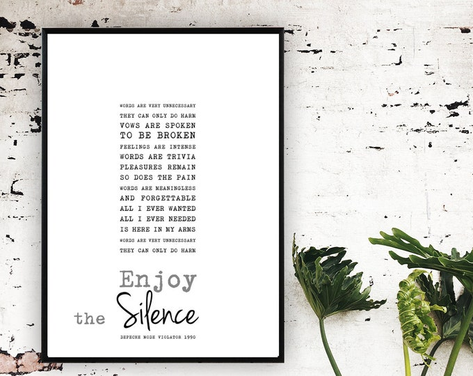 Stampa poster Enjoy the silence. Stampa tipografica con citazione musicale.