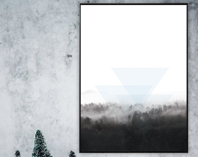 Print with landscape. Poster with nature. Minimal Art. Scandinavian style. Geometric art. Wall Decor. Gift for him. Abstract landscape.
