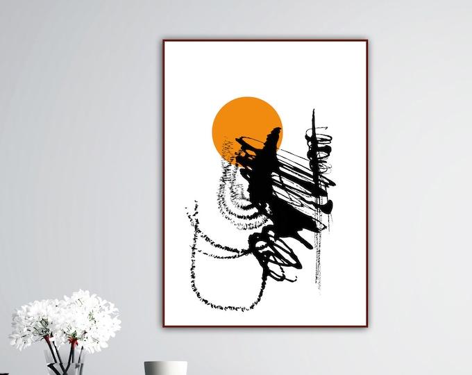 Stampa poster con arte astratta. Poster geometrico. Arte moderna. Stampa decorativa murale.