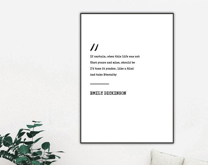 Stampa poster con citazione di Emily Dickinson. Stampa tipografica. Stampa decorativa murale.