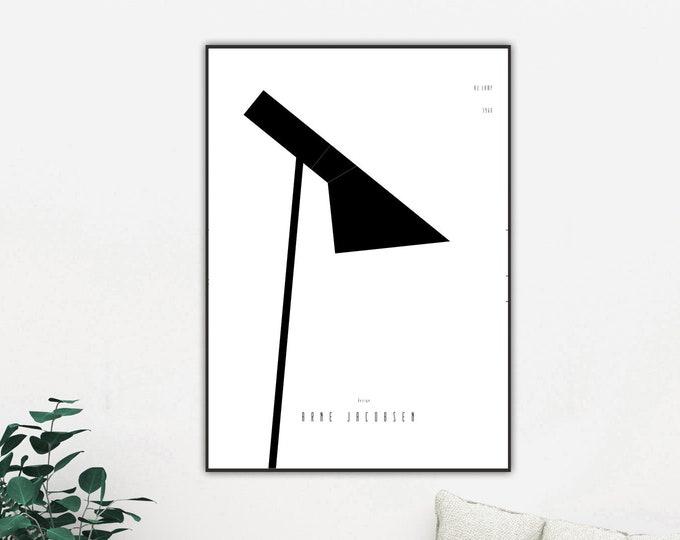 Stampa con icona del design: lampada AJ di Arne Jacobsen.  Design moderno. Regalo per un architetto.