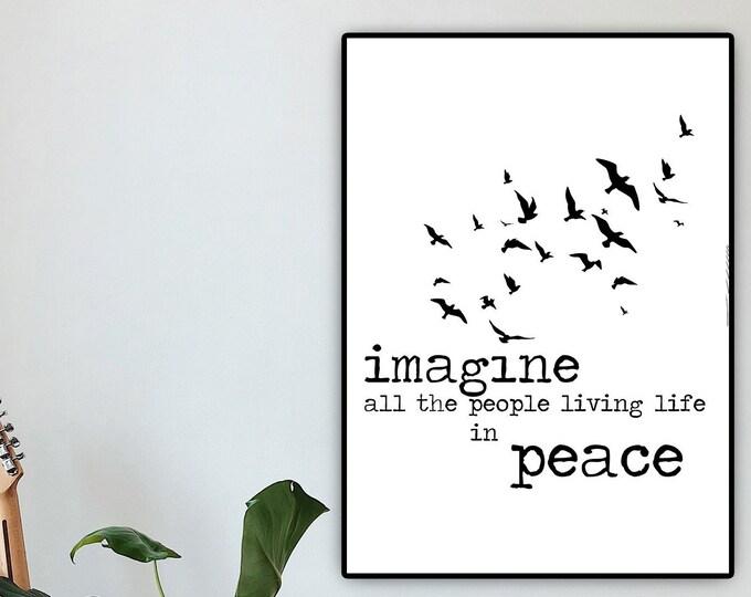 Stampa IMAGINE. Stampa tipografica. Stampa in stile scandinavo. Citazione J. Lennon.