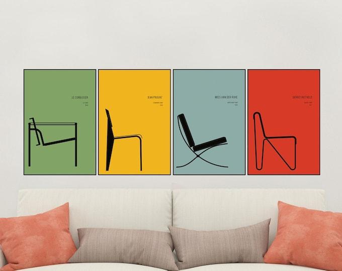 Set di 4 stampe con sedie icone del design. Stampa tipografica. Arredare con le stampe. Regalo per architetto. Decorazione murale.