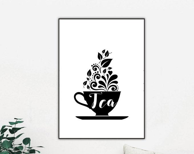 Stampa poster in stile scandinavo: tazza di tè. Stampa tipografica. Stampa decorativa murale.