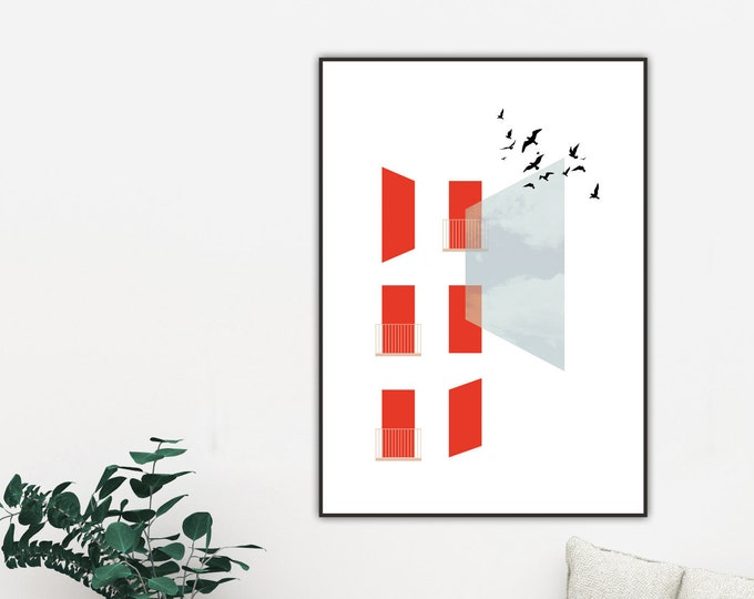 Stampa con collage. Stampa tipografica con arte geometrica. Rosso e blu. Stampa con uccelli.