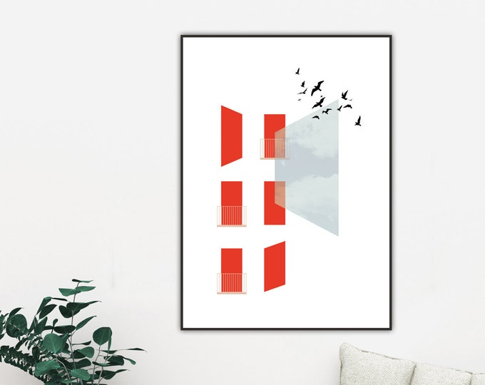 Printing with collage: abstract art. Printing typographic. Scandinavian style. Decorative print. Geometric art. Blue red. Print with birds.