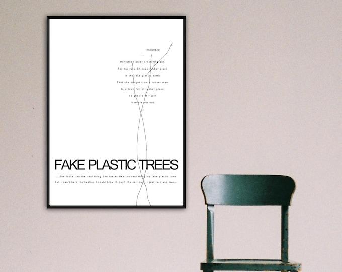 Stampa poster Radiohead: Fake plastic trees. Stampa in stile scandinavo. Poster citazione musicale.