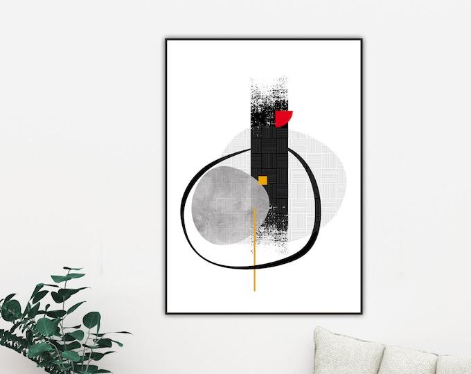 Poster con arte geometrica e astratta. Arte moderna. Stampa tipografica.