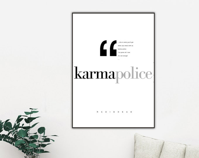 Radiohead print: Karma Police. Typographical printing. Scandinavian style. Gift Idea. Red and black. Nordic style. Musical citation. Décor.