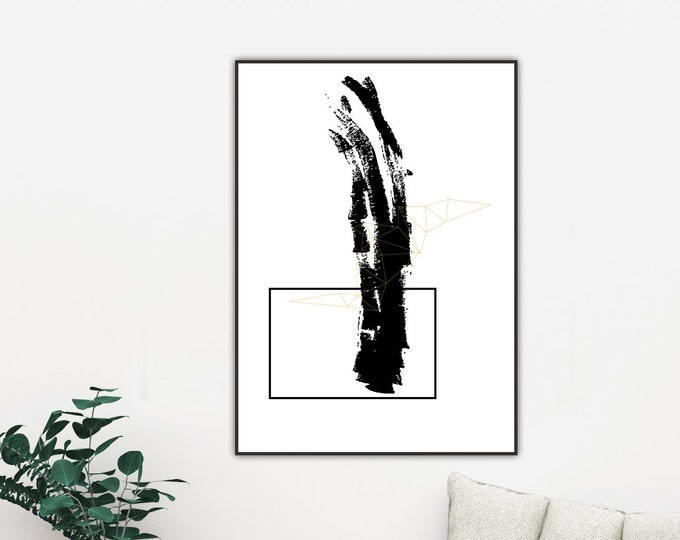 Poster con arte astratta. Stampa tipografica. Stampa stile nordico.