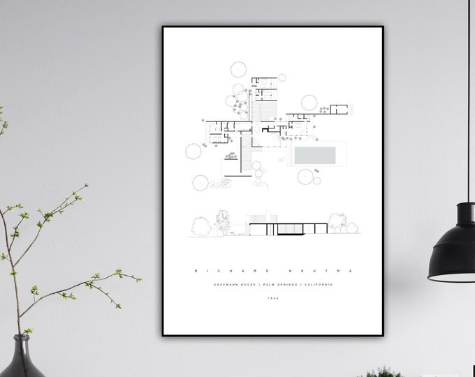 Stampa con Kaufmann House di Richard Neutra. Architettura anni '50. Stile scandinavo. Idea regalo. Regalo per architetto. Stampa decorativa.
