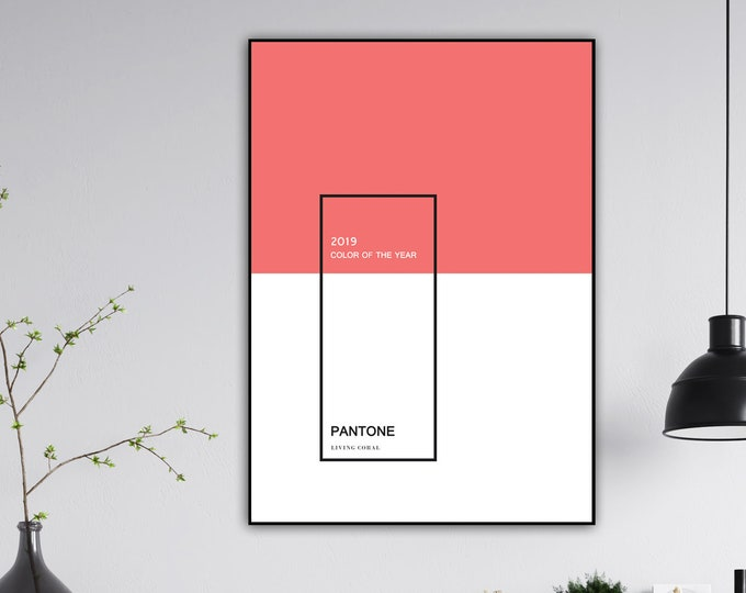 Pantone Living Coral print. Color of the year 2019. Collectible printing. Office decoration. Nordic style. Gift for architect.
