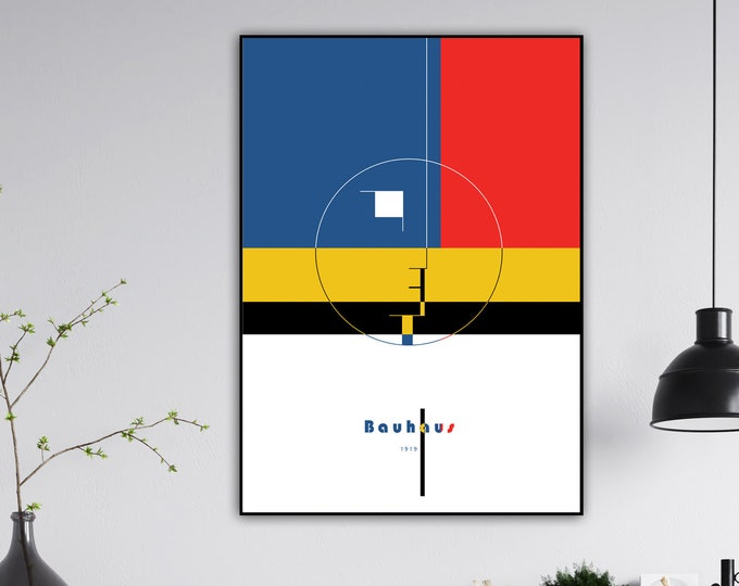 Bauhaus Poster. Printing typographic. Scandinavian style print. Gift for an architect. Modern art. Furnish with prints.