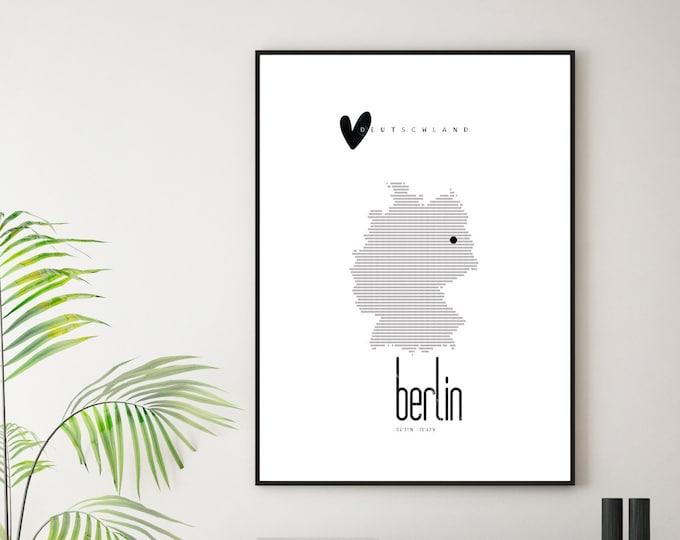 Poster Germania. Berlino. Stampa d'arte. Stampa stile scandinavo. Viaggi nel mondo. Poster ricordo di viaggio.