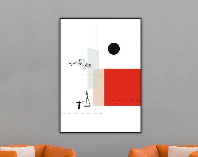 Stampa con collage. Stampa tipografica con Arte geometrica. Stampa paesaggio astratto.