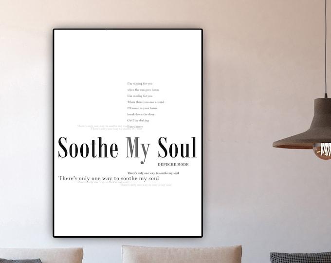Soothe My Soul Poster Depeche Mode. Stampa citazione musicale. Idea regalo.