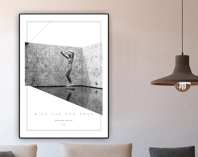 Print with Barcelona Pavilion by Mies Van Der Rohe. Artistic Collage. Modern architecture. Typographical printing. Print office decor.