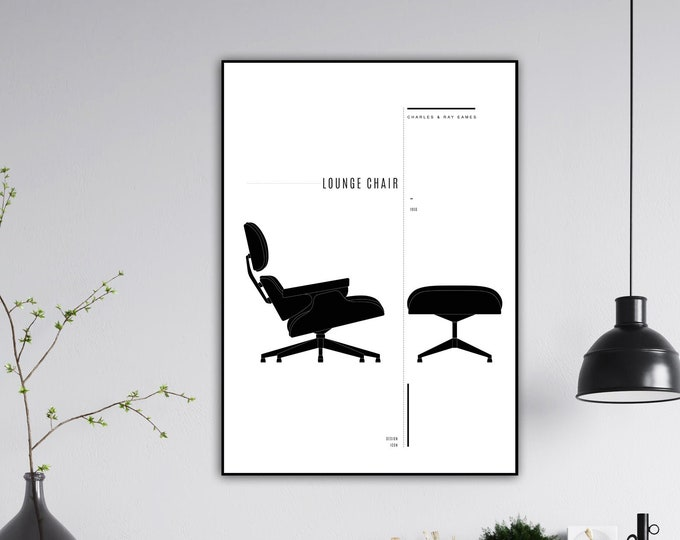 Lounge Chair di Charles & Ray Eames. Stampa design anni 50. Stampa tipografica. Stile scandinavo.