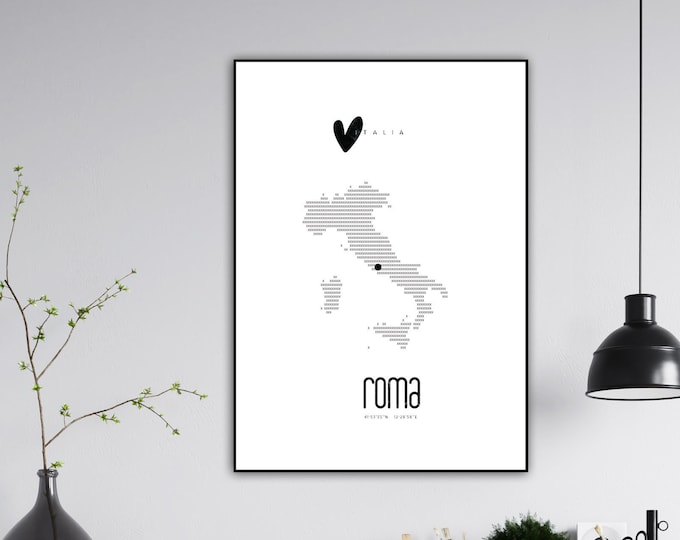 Roma poster print. Italy. Printing typographic. Scandinavian style. Wedding gift. Decorative print. Travel the world.