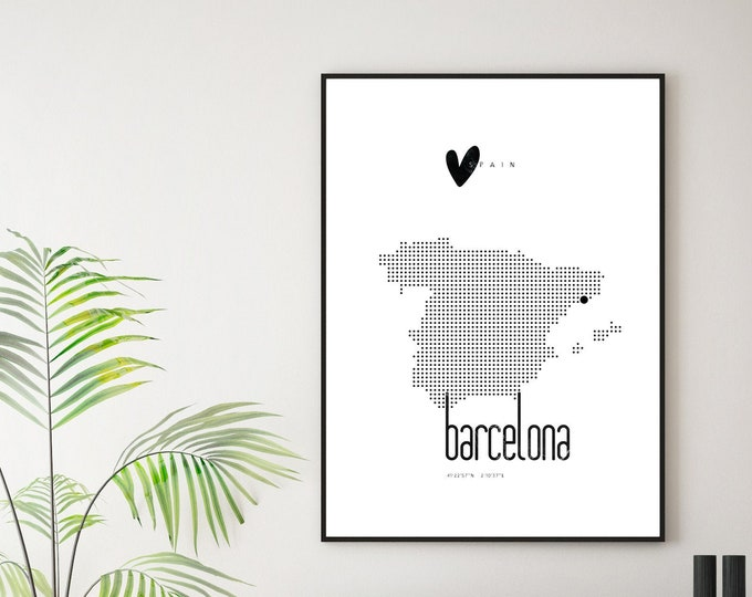 Barcelona Press. Spain. Printing typographic. Scandinavian style. Decor wall. Travel the world. Wedding gift print. Travel posters.