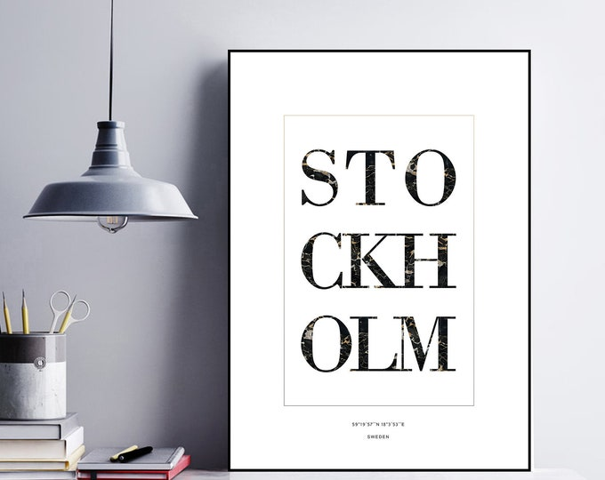 Poster print: Stockholm. Scandinavian-style typographic print. Decor wall. Travel the world.