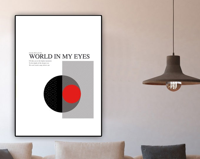 Stampa poster: World In  My Eyes. Stampa tipografica. Stile scandinavo. Arte geometrica.