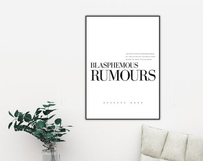 Stampa: Blasphemous rumors. Ispirazione Depeche Mode. Stampa tipografica. Stile scandinavo. Arredamento. Regalo per lui e per lei.