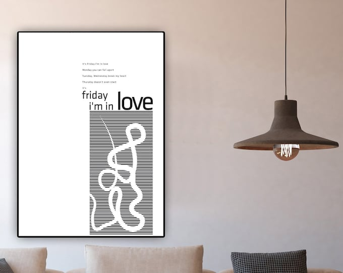 Friday i'm in Love poster The Cure. Stampa decorativa. Stampa tipografica.