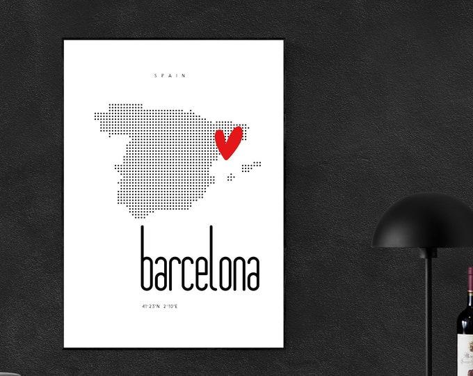 Stampa poster Barcellona. Stampa tipografica. Viaggi nel mondo.