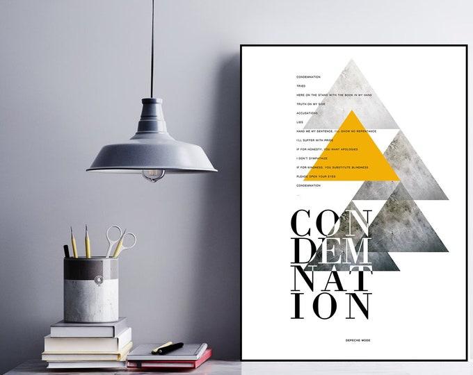 Condemnation Poster Depeche Mode. Arredare con poster in stile astratto/geometrico. Regalo per lui e per lei.
