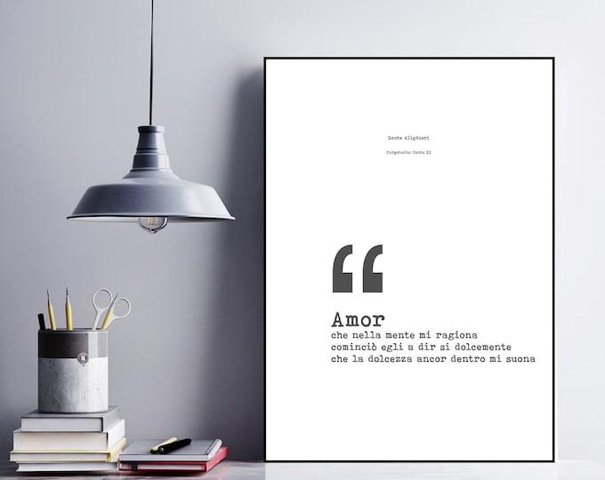Stampa poster con citazione di Dante Alighieri, canto II Purgatorio. Stampa tipografica. Stampa decorativa murale.