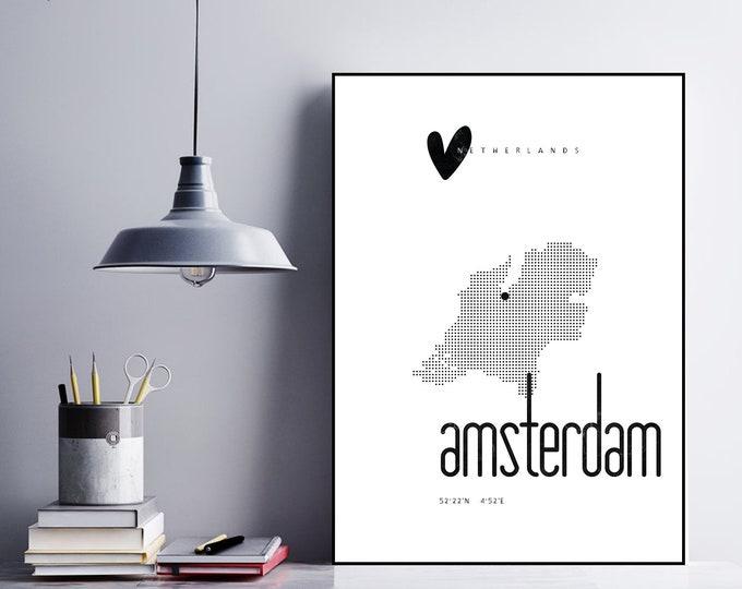 Stampa poster Amsterdam. Stampa tipografica. Viaggi nel mondo.