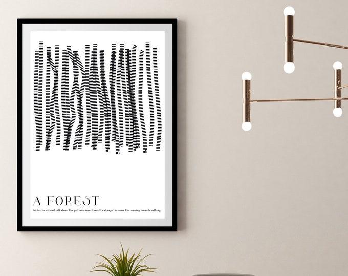 Stampa poster: A Forest. Stampa decorativa con citazione musicale. Arte astratta.